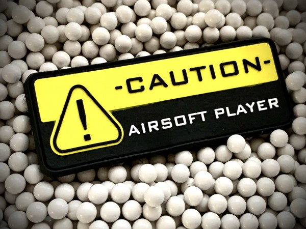 "3D Rubberpatch: ""CAUTION AIRSOFT PLAYER"""