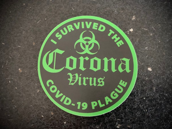 "Aufkleber/Sticker ""I survived the Corona Virus"" green"