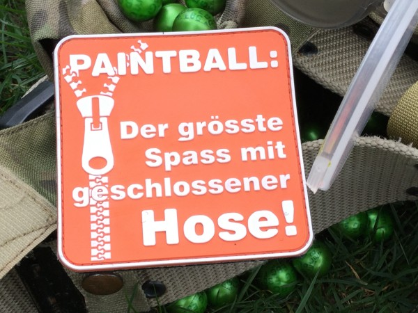 "3D Rubberpatch: ""PAINTBALL Der grösste Spass..."" hellrot"