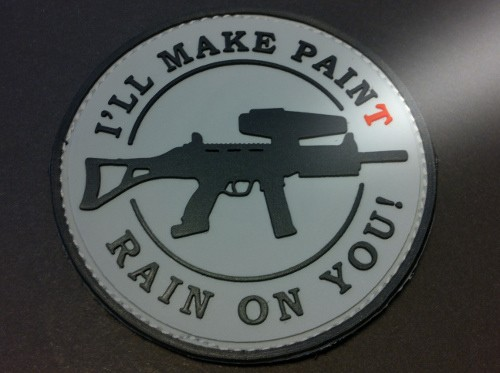 "3DRubber Patch:""I'LL MAKE PAINT RAIN ON YOU"" grau"