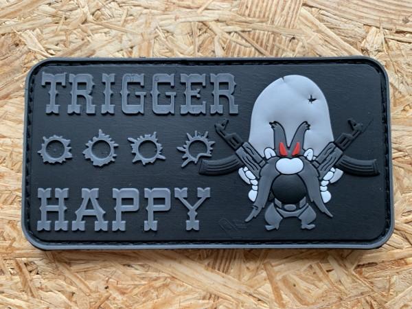 "3D Rubberpatch "" TRIGGER HAPPY"" black"