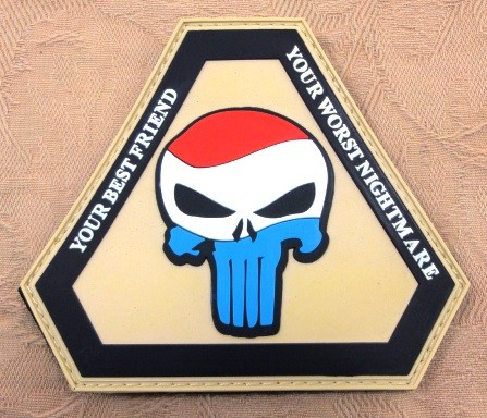 "3D Rubber Patch:""Punisher Luxembourg"""