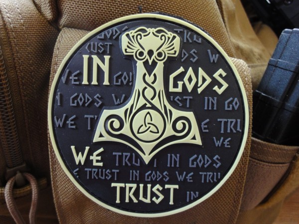 "3D Rubber MORALE PATCH: ""In Gods we trust"" sand"
