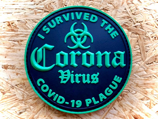 "3D Morale-Patch: ""I survived the Corona Virus"" green"