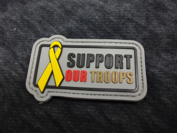 "3D Rubber MORALE PATCH: ""Support our Troops"" S,R,G"
