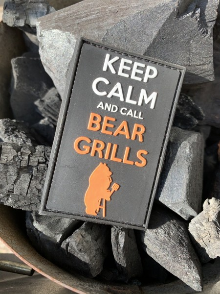 "3D Rubberpatch: ""KEEP CALM AND CALL BEAR GRILLS"""