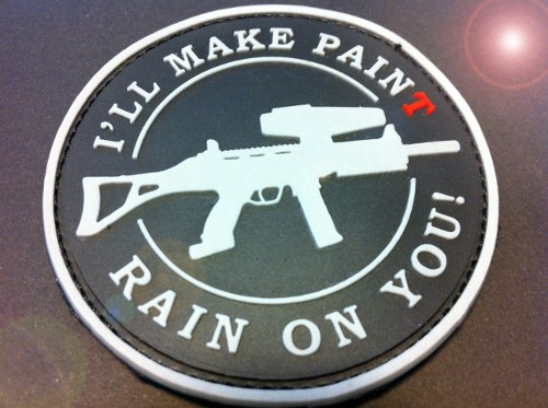 "3DRubber Patch:""I'LL MAKE PAINT RAIN ON YOU"" schwarz"