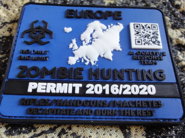 "3D Rubber MORALE PATCH: ""ZOMBIE HUNTING PERMIT EUROPE"""